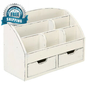 Mygift Vintage White Wood Desk Organizer 6 Compartment 2 Drawer Office