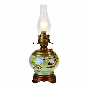 Antique Hand Painted Electrified Plume Atwood Oil Lamp