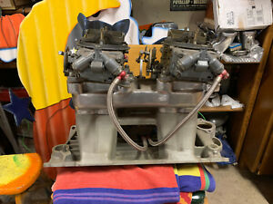 Tunnel Ram Complete Sb Chevy Edelbrock Tunnel Ram With Riser And Pair Of Holley