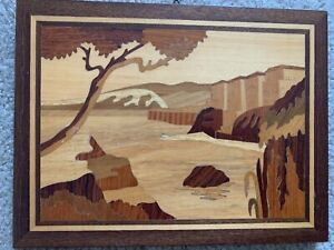 Mid Century Inlaid Wood Marquetry Panel Plaque Landscape Seaside Scene 8 Wide