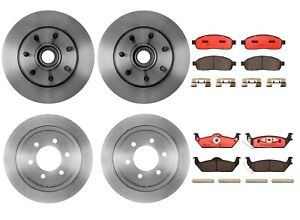 Front And Rear Full Brembo Brake Kit Disc Rotors Ceramic Pads For Ford F 150 Rwd