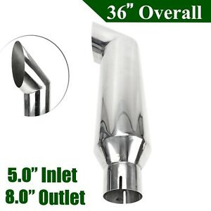 5 Inlet 8 out Silver Miter Diesel Smoker Angle Cut 36 Long Exhaust Stack Tip