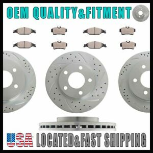 For 2004 Ford Mustang Base Gt 3 8l Front Rear Slot Brake Rotors And Ceramic Pads