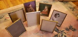Vintage Lot 7 Brass Gold Picture Photo Frame And 3 Old Photo 10 X 8