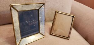Two Small Vintage Gold Brass Metal Emboss Detail Photo Picture Frames 4 X 3