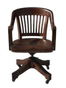 Antique Arts Crafts Mission Oak Office Desk Chair By Milwaukee Chair Co