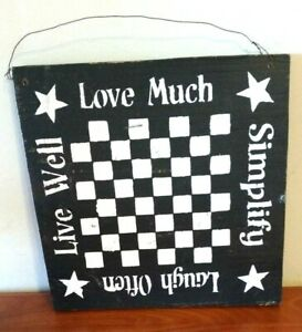 Primitive Wall Hanging Decor Wooden Checker Board Design W Love Much Simplify
