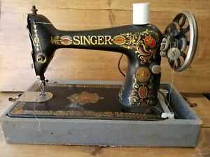 Antique Singer Sewing Machine 66 Red Eye Treadle Head Heavy Duty Ornate Gold