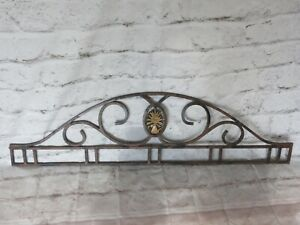 Vtg Cast Iron Arched Transom W Wheat Shaft Architectural Salvage Garden Decor