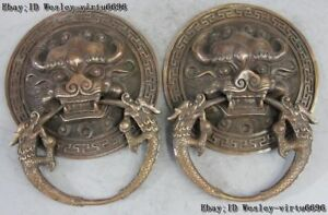 China Fengshui Bronze Copper Foo Dog Guardian Lion Kylin Head Door Knocker Pair