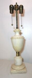 Vintage Carved White Alabaster Marble Brass Dual Electric Table Lamp Light