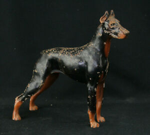Vintage Hubley Cast Iron Doberman Pinscher Dog Sculpture Doorstop No 306 Rare