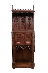Elaborate French Gothic Hood Style Cabinet Oak 19th Century