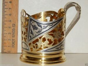 Vintage Russian Soviet Ussr Glass Cup Holder Niello Gilt Sterling Silver 875