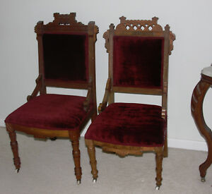 Two Antique Victorian Eastlake Parlor Chairs