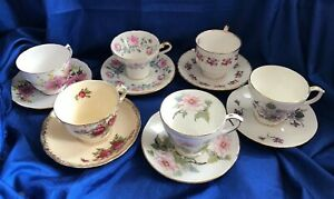 Lot 6 Tea Cups And Saucers Bone Fine Bone China Aynsley Queens Vale Duchess Vtg