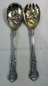 Sheffield England Silver Plated Gold Wash Berry Serving Salad Spoon Spork Fork