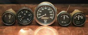 Scca Race Used Stewart Warner Gauge Cluster 160 Mph Speedometer Oil Temp Amp Gas