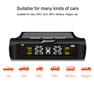Lcd Display Car Tpms Tire Pressure Monitoring Solar Alarm System W 4 Sensor