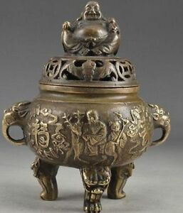 Century Chinese Brass Vintage Hand Hammered Buddha Exorcist Incense Burner