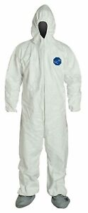 25 2xl Hooded Tyvek 400 White Coveralls Elastic Cuffs Boots Ty122swh2x002500