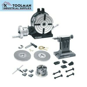 Rotary Table 8 200 Mm Dividing Plate Set Tail Stock 4 Jaw Chuck Clamping Kit