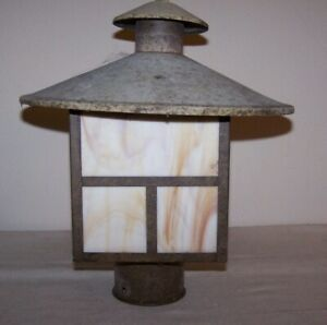 Arts And Crafts Style Slag Glass Metal Outdoor Lantern As Found