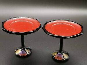 Japanese Hina Doll Furniture Vtg Wooden Stand Pair Makie Miniature Black And Red