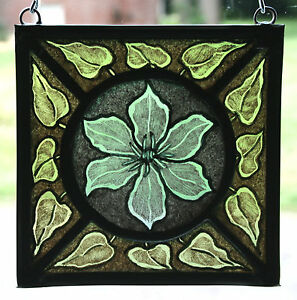 Stained Glass Hand Painted Kiln Fired Clematis Flower 1404 05