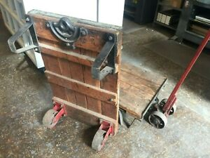 Antique Hamilton Wood Industrial Railroad Factory Cart Printing Type Nyc