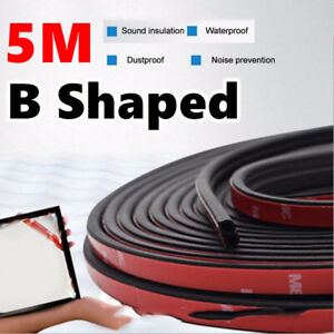5m Sloping B Shaped Car Door Seal Strip Rubber Trunk Hood Edge Insulation Trim