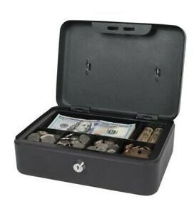 Royal Sovereign Key Locking Steel Cash Money Box Safe With Removable Tray