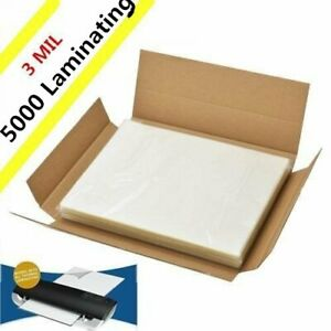 3 Mil 5000 Pack Letter Size Laminator Hot Laminating Pouches 9 X 11 5 Sheets