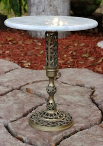 Vintage Marble Top Pedestal Table Brass Base Plant Stand