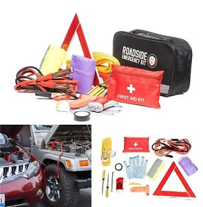 Roadside Assistance Auto Emergency Kit First Aid Jumper Cables Tool Bag Triangle