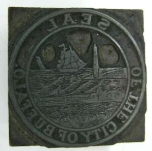 Antique Seal Of The City Buffalo Ny Letter Press Printing Plate Cut Stamp Block