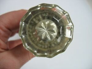 Antique Vintage Victorian Glass Door Knob Handle Salvage Restoration Star