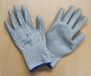 Lot Of 12 Pairs Cut Resistant Work Gloves Xl Hppe Pu Palm Coated