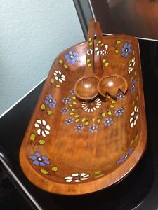 Wooden Dough Salad Bowl Trencher Farmhouse Hand Painted Turned Wood Floral