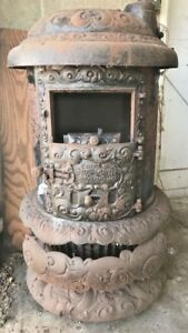 Antique Round Oak Cast Iron Wood Stove P D Beckwith Model 18 Parlor Stove