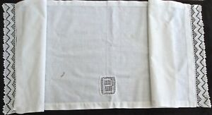 Antique Linen Pillow Layover W Inset B 19 By 49 2 Crocheted Lace Edges