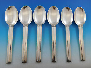 Cannes By Puiforcat France Sterling Silver Flatware Set Of 6 Dinner Spoons 8