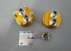 An10 Oil Cooler Filter Relocation Male Fitting Adapter Sandwich Plate Kits Gold