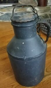 Small Antique Vintage Metal Milk Can W Lid Single Handle Dairy Bdd Co