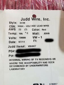 New Judd Wire 22awg Ul 3239 High Voltage Hook up lead Wire 10kvdc 10 000v Red