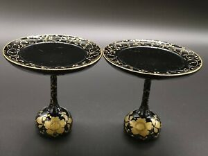 S1 Japanese Hina Doll Furniture Vintage Wooden Stand Pair Miniature
