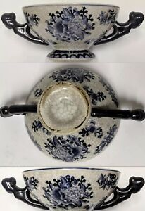 Estate Rare Ming Qing Chinese Swatow Crackle Porcelain Cup Bowl Figural Handles