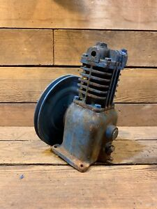 Vintage Air Compressor Cast Iron Industrial Factory Blue Engine Motor Hit Miss