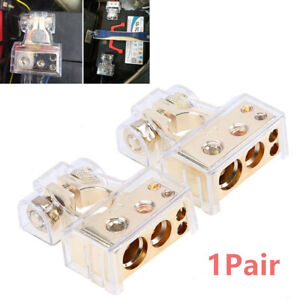 0 4 8 Awg Gauge Car Positive Negative Battery Terminal Clamp Connector W Covers