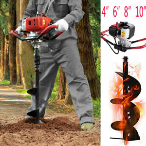 52cc Gas Powered Earth Auger One Man Post Hole Digger 4 12 Drill Bit Ground